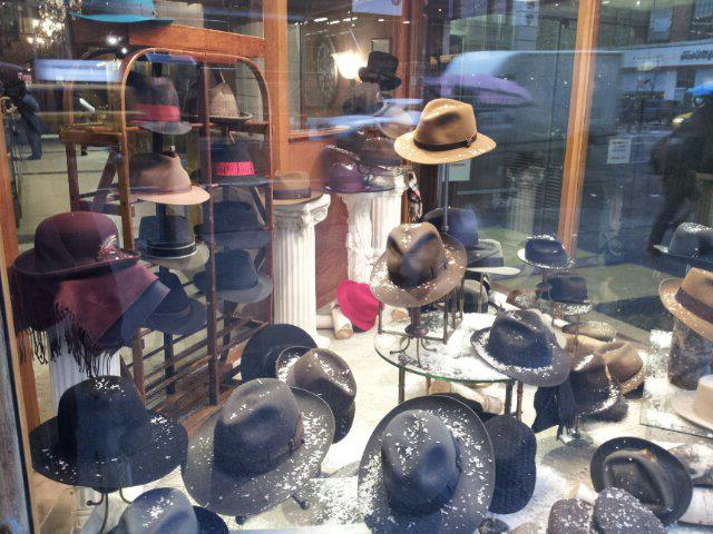 hats in NYC hat shop window
