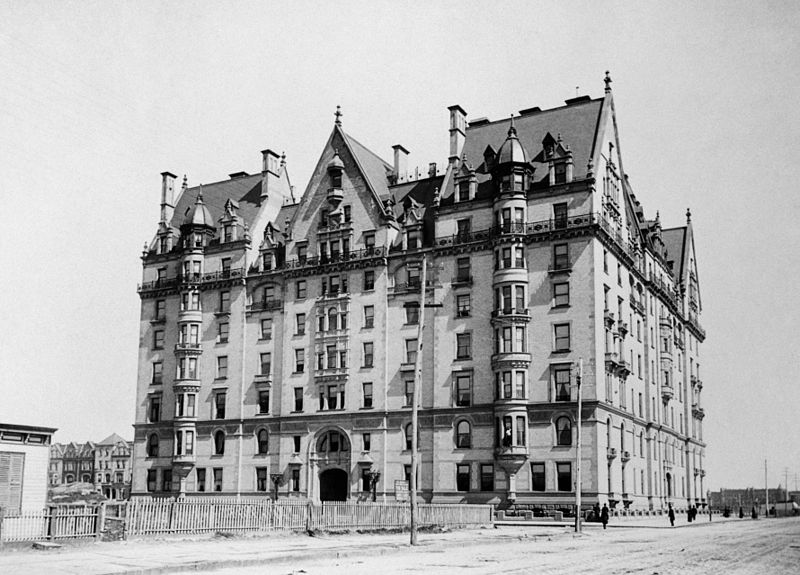 The Dakota building in 1890 on the empty Upper West Side