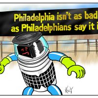 Cartoon: HitchBOT in Philadelphia