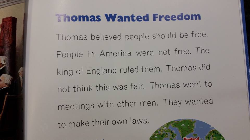 "Thomas Wanted Freedom excerpt says ""Jefferson believed people should be free."""