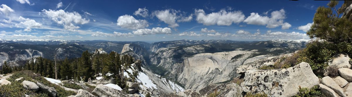 A panoramic view of Yosemite Valley from the summit of Cloud's Rest