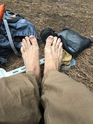 My bare feet after a couple of days hiking in Yosemite National Park