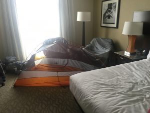 Tent drying out in a hotel room in Oakland California, after backpacking in Yosemite National Park