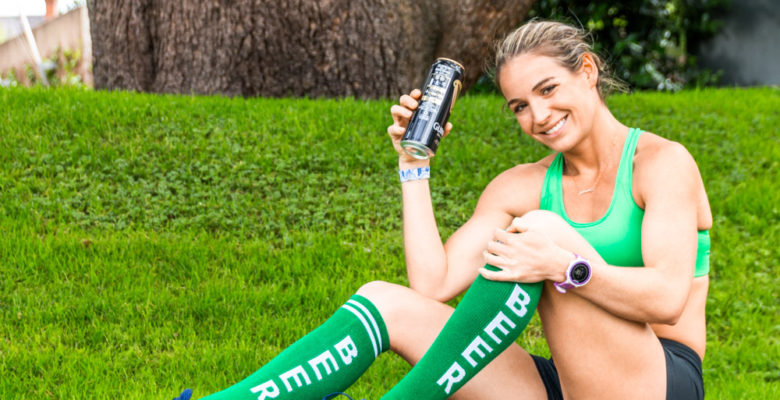 Corky poses with a can of Guinness on the campus of University College Cork