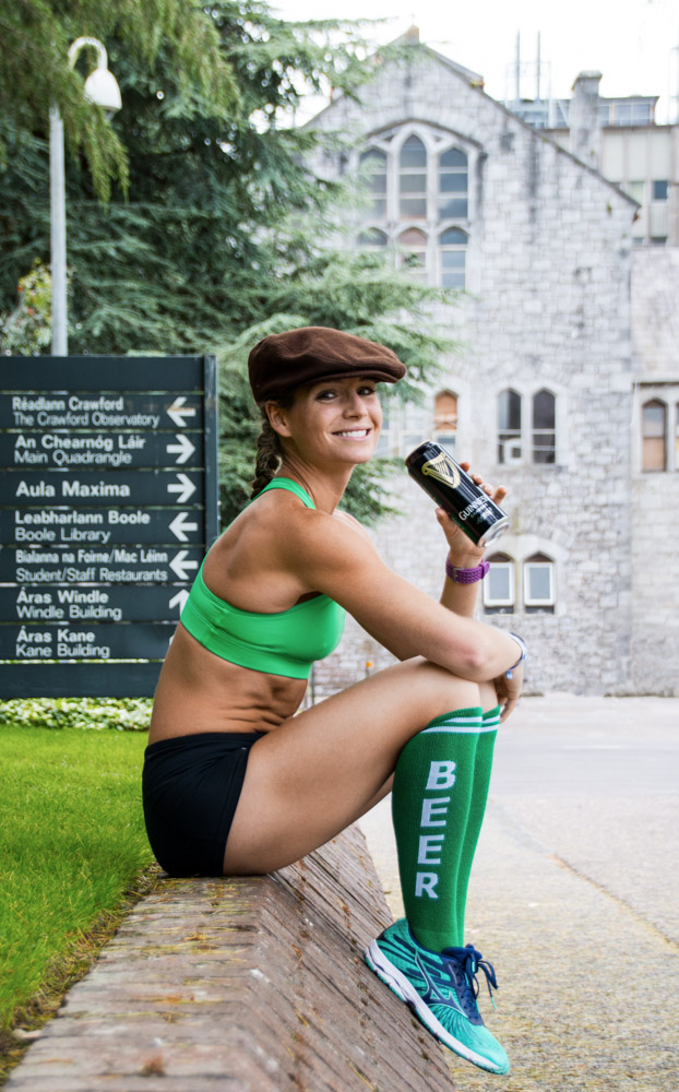 Corky with a can of Murphy's and her beer socks, at University College Cork, Ireland