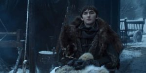 "Bran Stark in Winterfell, ""Waiting for an old friend."""