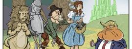 The Wizard of Oz gang meets Donald Trump along the Yellow Brick Road